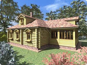 Проект дореволюционного одноэтажного деревенского дома для постоянного проживания