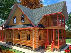 Дачный двухэтажный дом, из сруба 8 на 8
