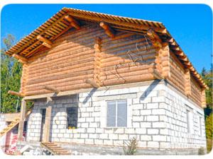 Комбинированный дом из сруба и газосиликатных блоков