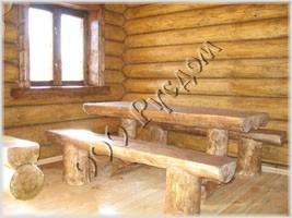 Рубленая деревянная мебель для бани