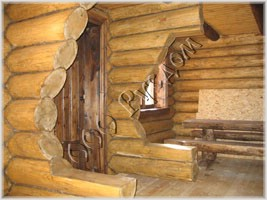 Фотография декоративной забривки перерубов внутри бани