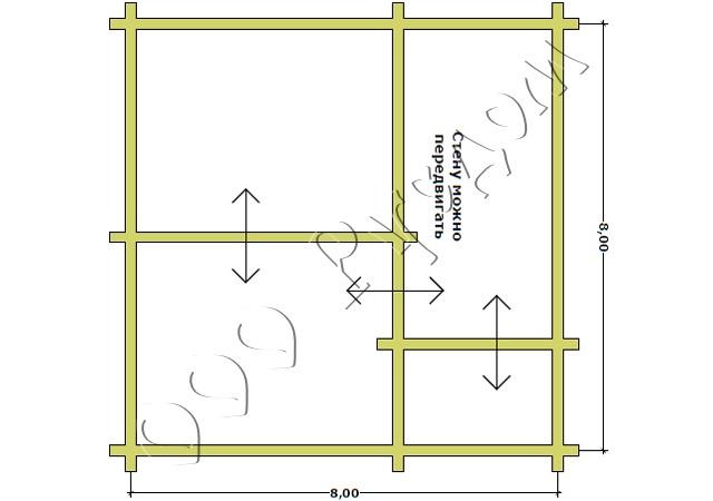 План сруба шестистенок из лафета 8 на 8 у заказчика на участке