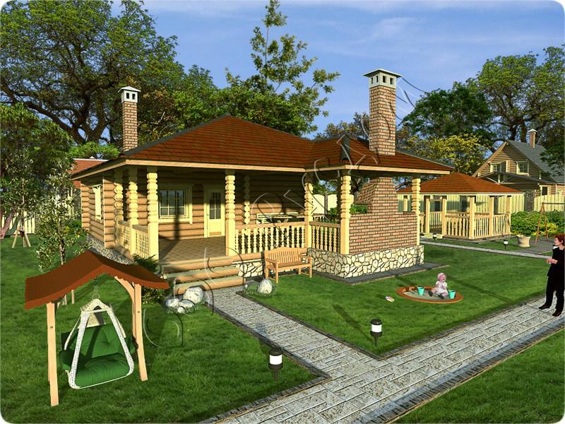 Деревянная баня с террасой и барбекю цена дизайн комнаты с электрокамином и телевизором