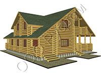 Проект деревянного коттеджа 'Гостемил' со вторым светом и большой террасой. Рубленый дом для постоянного проживания