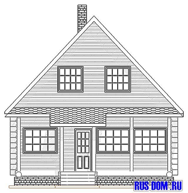 Лицевой фасад дачного дома дачник 12