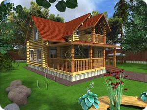 Проект бревенчатого дома с террасой и балконом