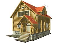 Проект деревянного дома 9 на 9 с открытой верандой