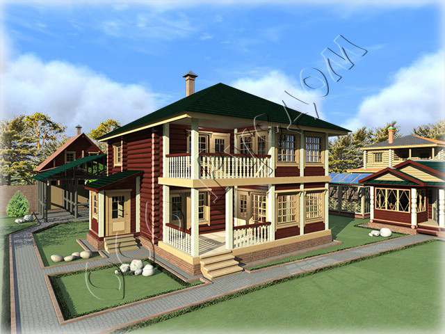 Деревянные дома с террасой и балконом.