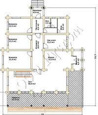 Первый этаж большого деревянного дома по проекту Олли