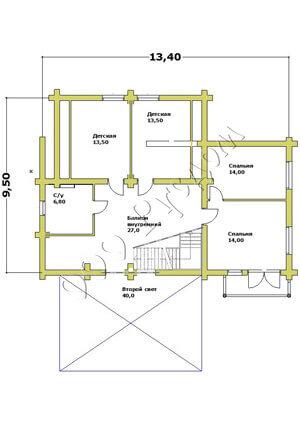 План второго этажа деревянного дома «Север» в европейском стиле