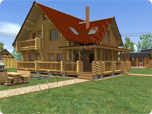 Трехэтажный дом из бревенчатого сруба с большой верандой и вторым светом по проекту «Павел-2»