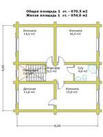 План второго этажа двухэтажного дома «Канадский» в канадском стиле