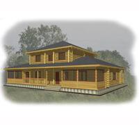 Проект двухэтажного усадебного дома с большой террасой Удачливый траппер