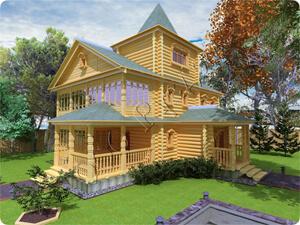 Проект старинного двухэтажного дома со смотровой башенкой Ретро-1
