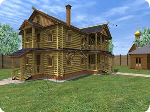 Проект старинного дома с каминным залом для большой семьи