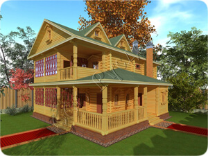 Проект старинного двухэтажного дома Ретро-3