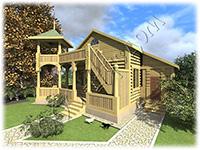 Проект дореволюционного одноэтажного дачного дома для сезонного проживания небольшой семьи