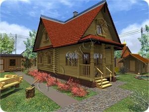 Старинный проект дачного дома №102 с мансардным этажом и большой закрытой верандой