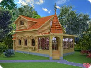 Старинный проект деревянного дома с каминным залом №12. Архитектор Судейкин