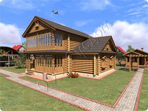 Старинный проект двухэтажного дома из дерева для постоянного проживания до 8-10 человек