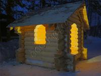 Деревянный домик для детей - подарок от компании Русдом