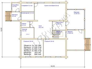 План первого этажа дома из готового сруба
