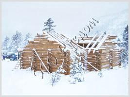 Установка сруба дома из лафета в Норвегии