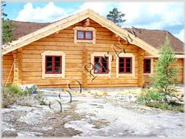 Фотография деревянного норвежского дома из лафета