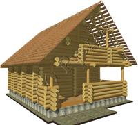 Общий вид сруба гостевого дома бани в полтора этажа после установки, проект Глеб