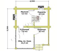 План первого этажа русской баньки