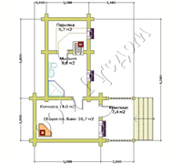 План первого этажа бани из бревна Валентина-2
