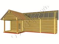 Общий вид сруба одноэтажной бани из бревна Валентина-2 с комнатой отдыха и камином после установки