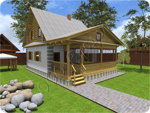 Комбинированый дом с верандрой и крыльцом Дергаево-комбо