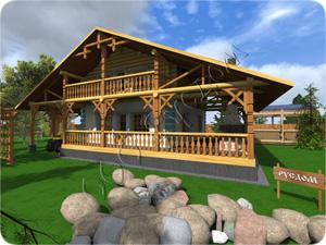 Проект двухэтажного комбинированного дома с терассой и навесом для автомобиля
