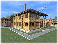 Проект двухэтажного рубленого коттеджа с террасой и балконом Мечта-5