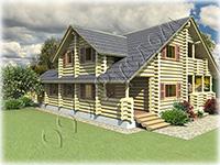 Проект деревянного коттеджа Гостемил со вторым светом и большой террасой