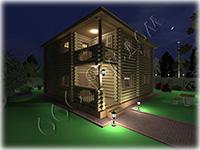 Проект двухэтажного деревянного коттеджа с каминным залом Добрый-2