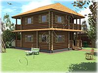Проект деревянного коттеджа с каминным залом Добрый