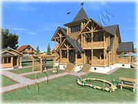 Проект деревянного коттеджа Русская усадьба в классическом стиле