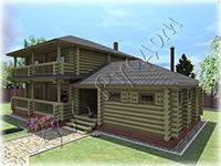 Проект двухэтажного деревянного коттеджа Метелица-2, совмещен с небольшой баней. Возможно использование как гостевого дома - бани