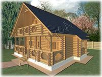 Проект деревянного коттеджа с рублеными фронтонами Руслан