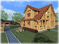 Проект деревянного коттеджа Норвежский дом. Коттедж из рубленого лафета
