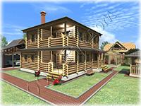 Проект двухэтажного деревянного коттеджа Терем, с рубленым крыльцом и балконом