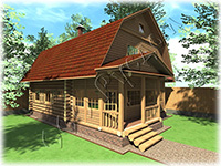 Проект дачного дома из сруба 7 на 8 с мансардной крышей