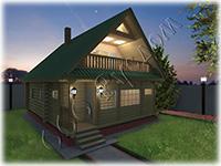 Проект дачного дома с закрытой террасой Дачник-10