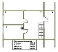 План мансардного этажа дачи Дачник-11