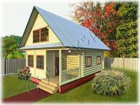 Дачный дом «Дачник-11» разработан на основе сруба 6 на 6 с выпусками под веранду или террасу и балкон