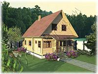 Проект дачного дома «Дачник-12» имеет в своей основе сруб 6 на 7 с выпусками под веранду