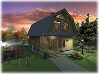 Бревенчатый домик из сруба 6 на 6 с мансардной крышей Дачник-13 с мансардой