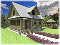 Проект небольшого дачного дома «Дачник-14» с небольшой верандой и мансардным этажем